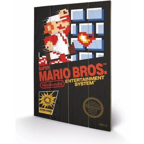 Mirrors & Wall Décor - Super Mario Bros NES Cover Wood Print