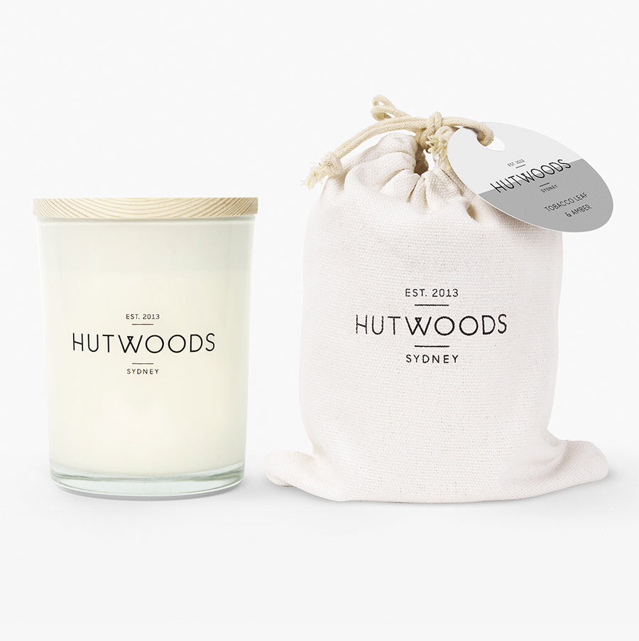 Hutwoods Large Tobacco Leaf & Amber scented Wood Wick Natural Soy Wax Candle - Burn time 100 hours longer lasting
