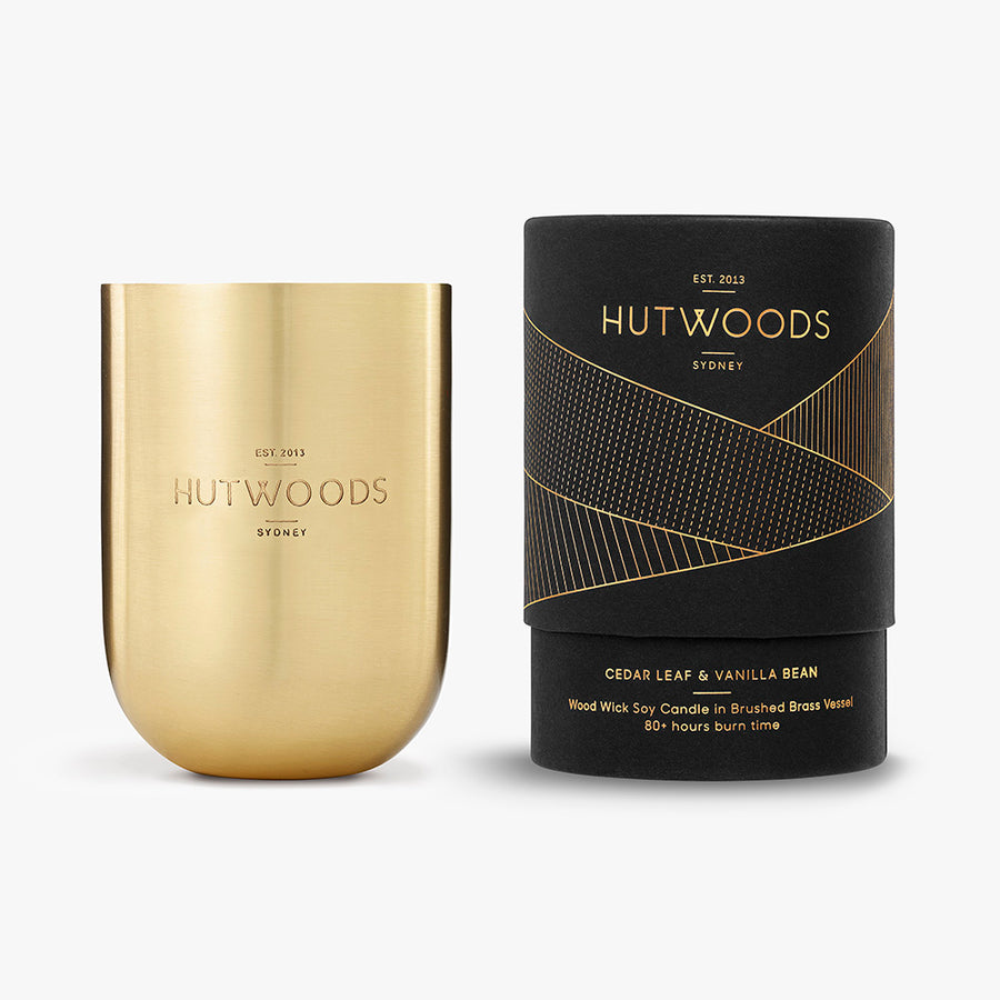 Hutwoods Cedarleaf & Vanilla Bean wood wick candle in brushed brass Jar with seeded paper to grow a herb - 80 hours long lasting burn time