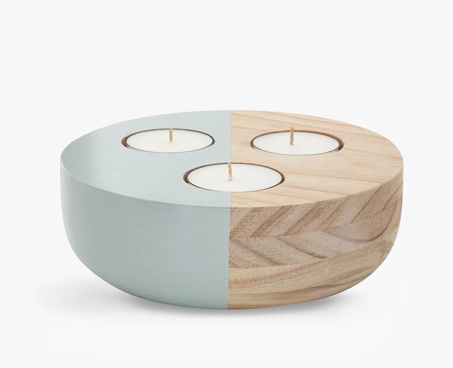 Large Wooden Bowl Tea Light Holder in Green