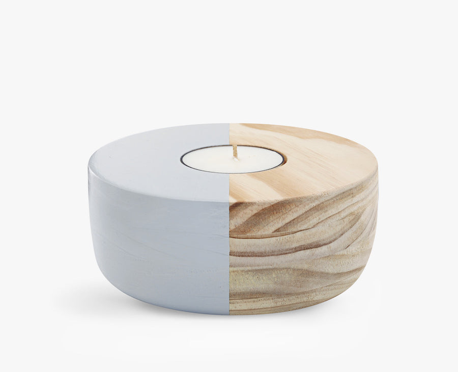 Small Wooden Bowl Tea Light Holder in Grey