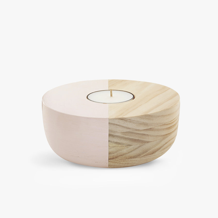 Small Wooden Bowl Tea Light Holder in Pink