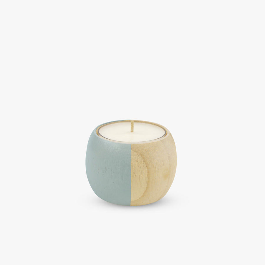 Extra Small Wooden Bowl Tea Light Holder in Green