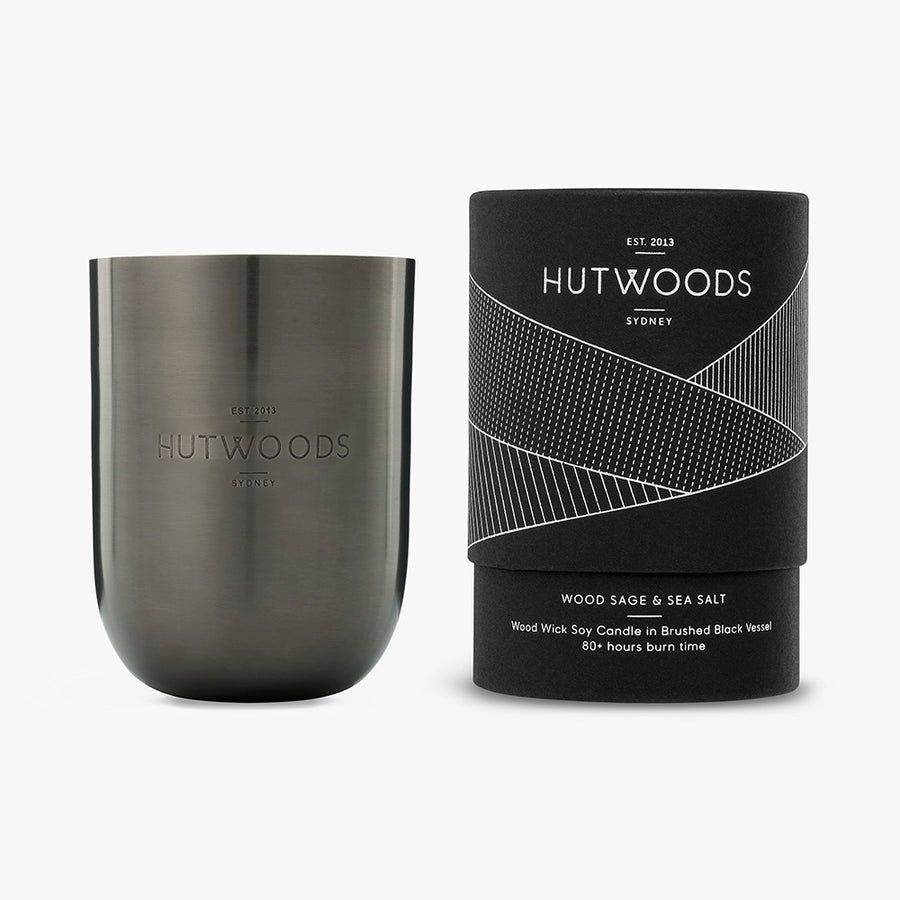 Hutwoods Wood Sage and Sea Salt wood wick candle in brushed black Jar with seeded paper to grow a herb - 80 hours long lasting burn time