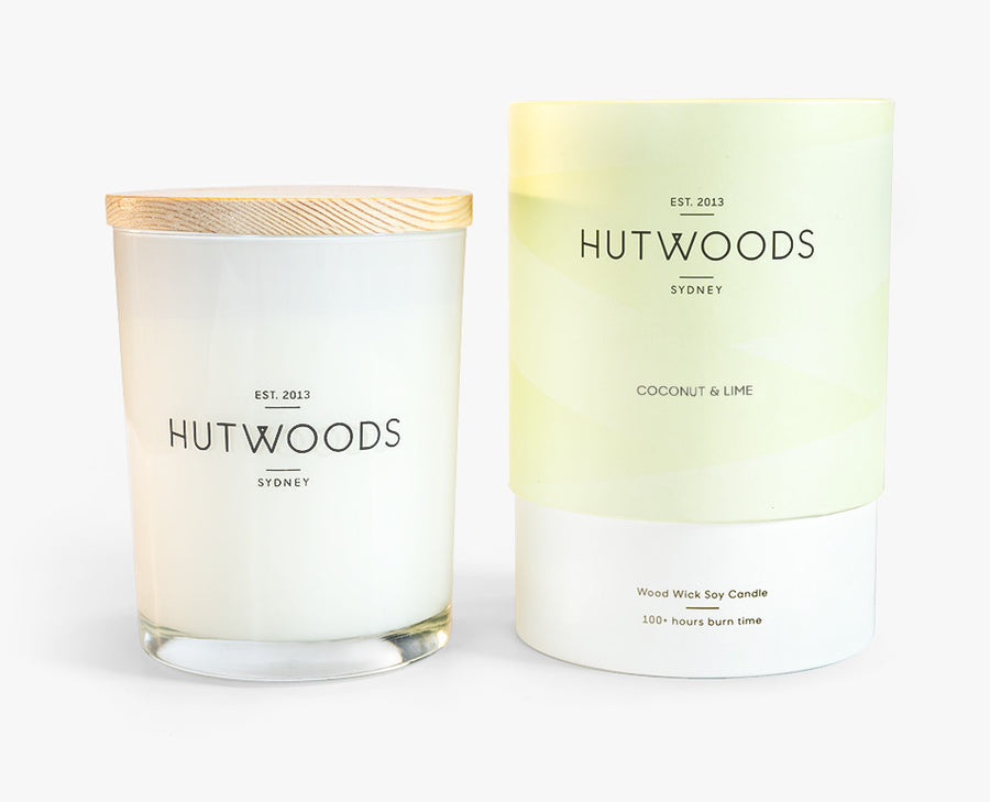Hutwoods Large Coconut and Lime scented Wood Wick Natural Soy Wax Candle - Burn time 100 hours longer lasting