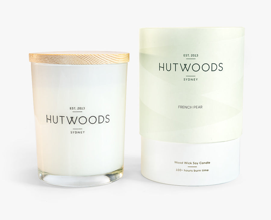 Hutwoods Large French Pear scented Wood Wick Natural Soy Wax Candle - Burn time 100 hours longer lasting