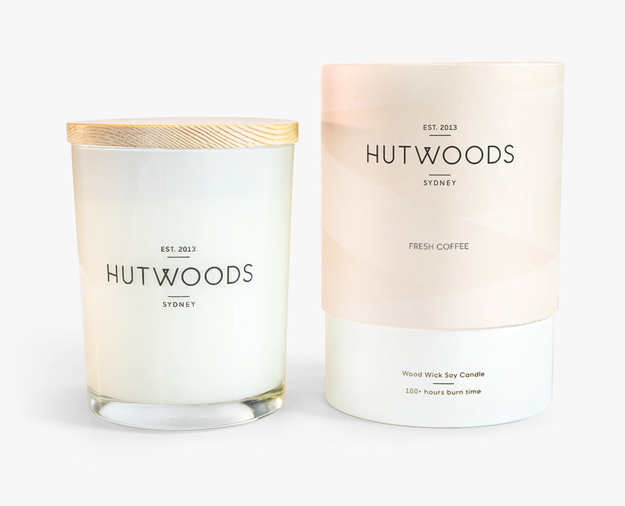 Hutwoods Large Fresh Coffee scented Wood Wick Natural Soy Wax Candle - Burn time 100 hours longer lasting
