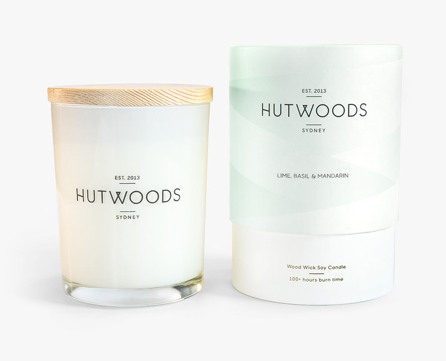 Hutwoods Large Lime, Basil and Mandarin scented Wood Wick Natural Soy Wax Candle - Burn time 100 hours longer lasting