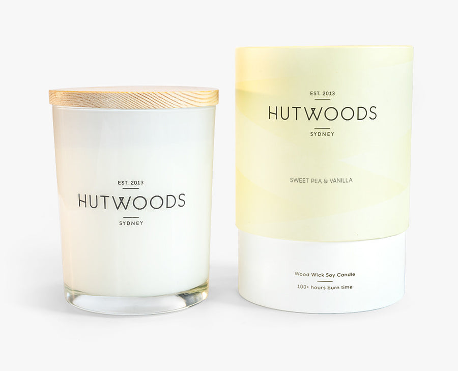 Hutwoods Large Sweet Pea and Vanilla scented Wood Wick Natural Soy Wax Candle - Burn time 100 hours longer lasting