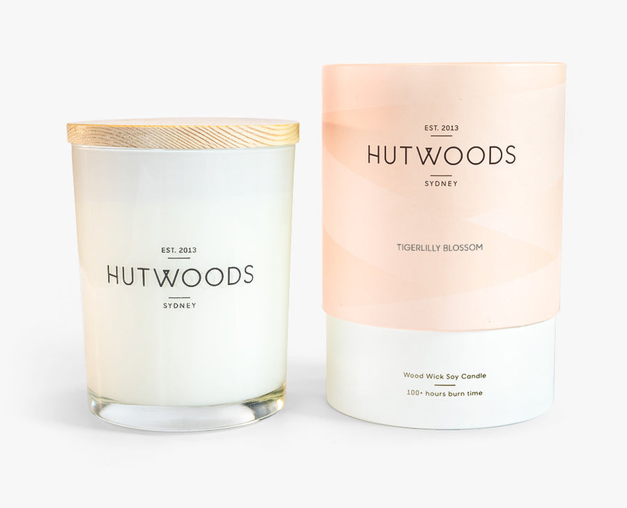 Hutwoods Large Tigerlily Blossom scented Wood Wick Natural Soy Wax Candle - Burn time 100 hours longer lasting
