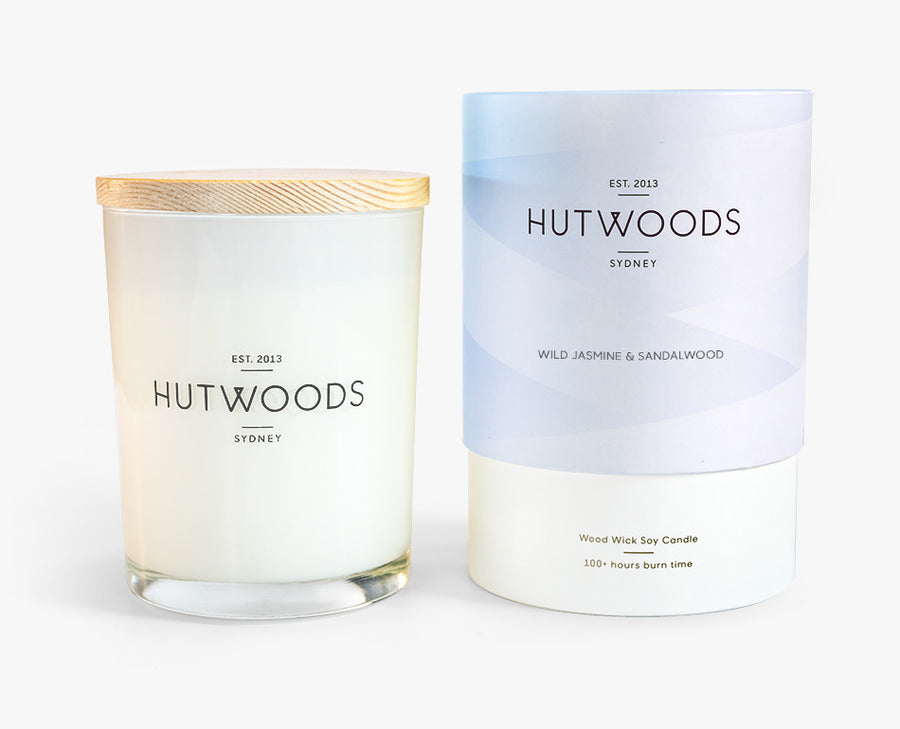 Hutwoods Large Wild Jasmine and Sandalwood scented Wood Wick Natural Soy Wax Candle - Burn time 100 hours longer lasting