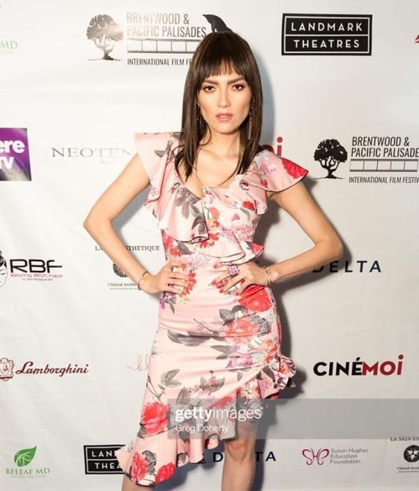 Actress Blanca Blanco in a Floral GEORGY Dress
