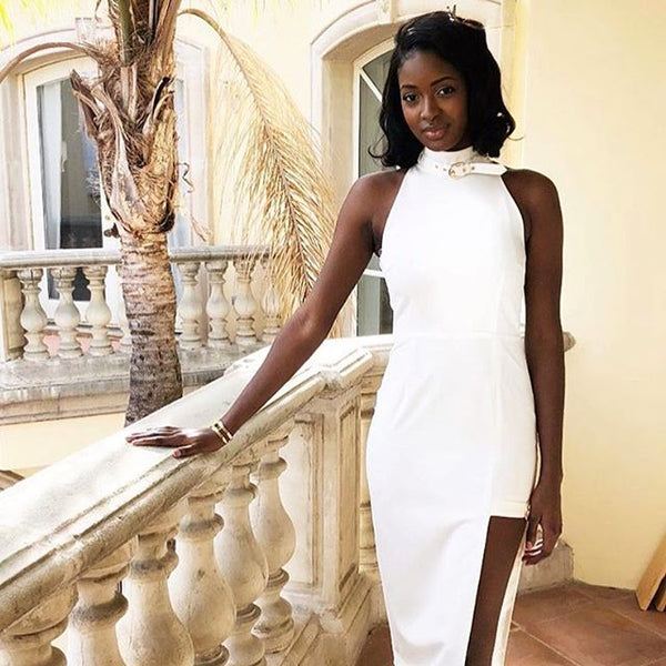 Model Sira Kante wears Georgy Collection Ares dress for latest Loreal Skin commercial.