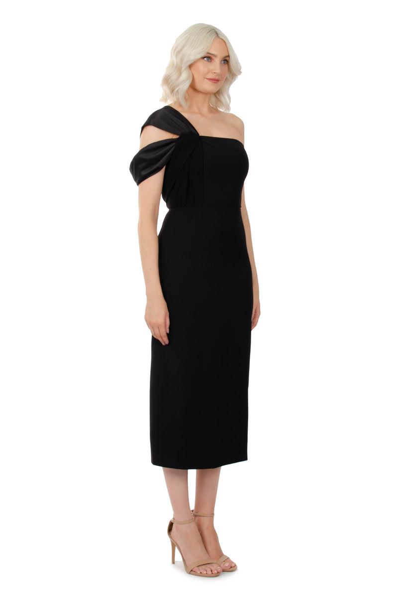 ANGELICA DRESS - BLACK SATIN - GEORGY COLLECTION