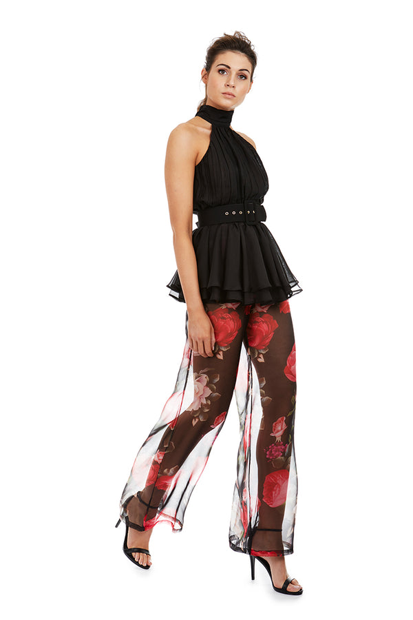 DION PANTS - BLACK FLORAL - GEORGY COLLECTION