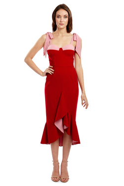 CHANTELLA DRESS - RED & PINK - GEORGY COLLECTION
