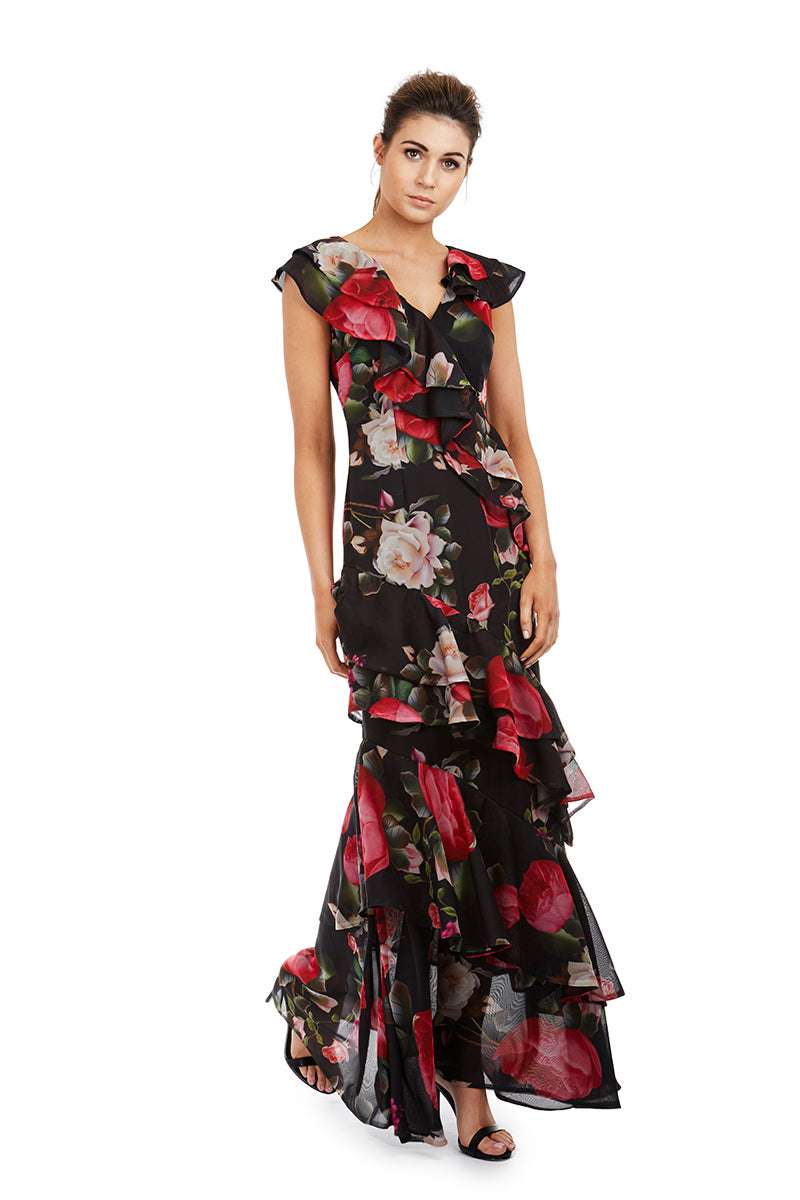 CLARA GOWN - BLACK FLORAL - GEORGY COLLECTION