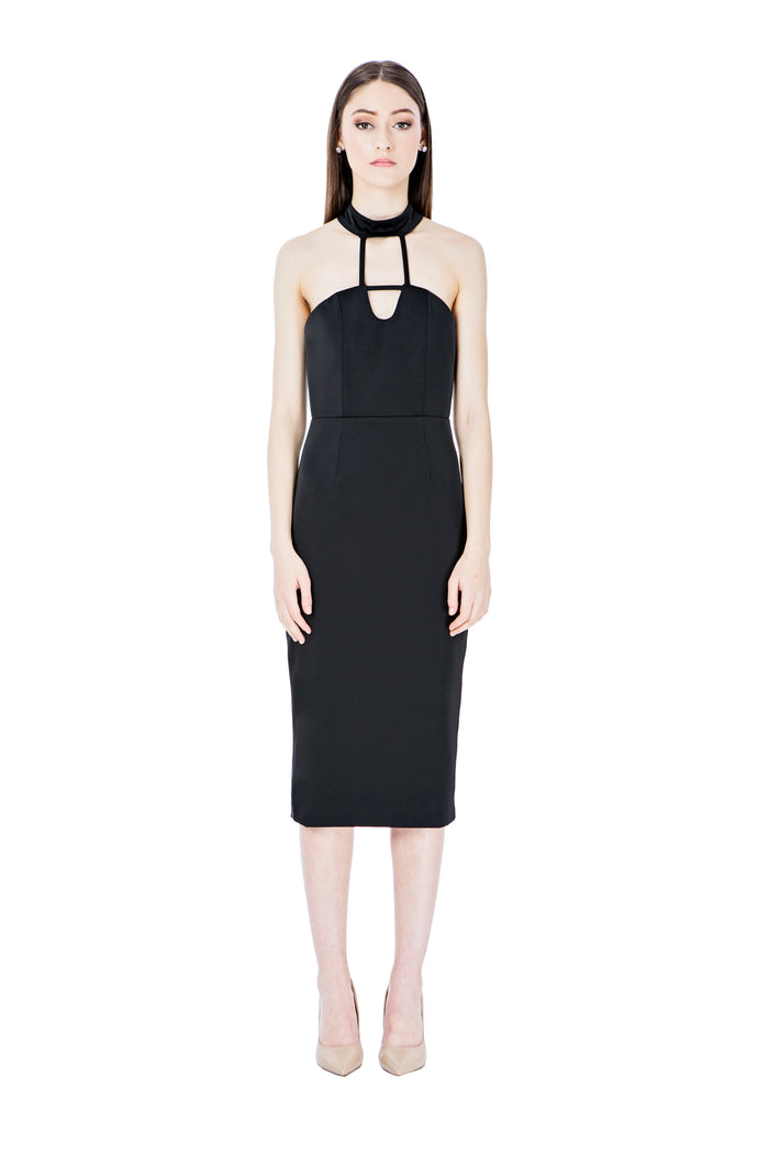 Black Chocker Midi Dress