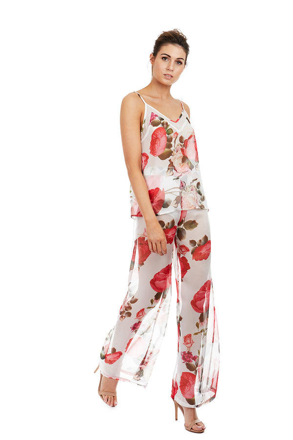 DION PANTS - WHITE FLORAL - GEORGY COLLECTION