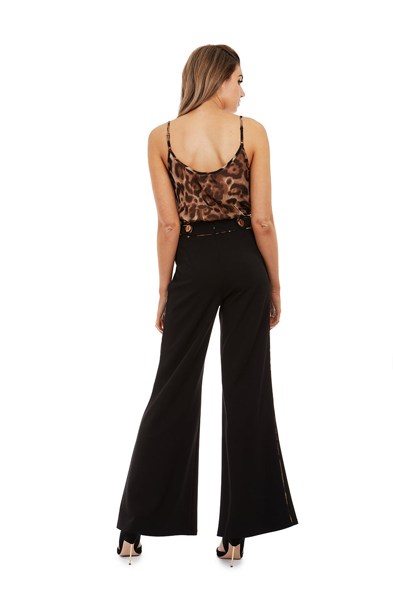 DIANA PANTS - BLACK & LEOPARD - GEORGY COLLECTION