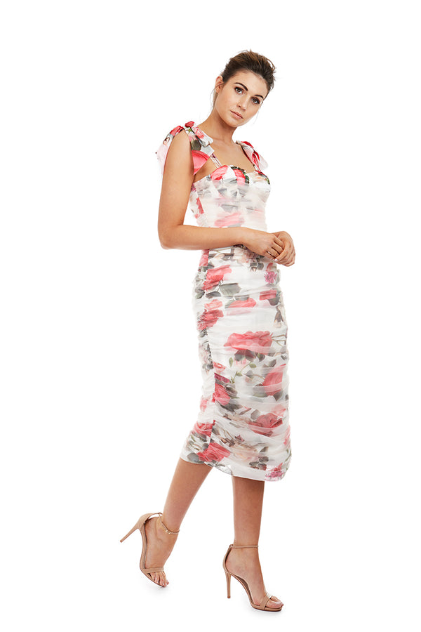 FLEUR DRESS - WHITE FLORAL - GEORGY COLLECTION