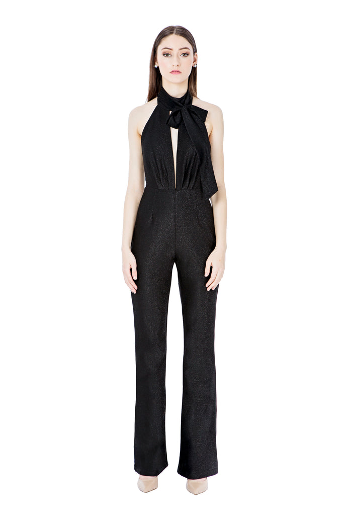 Black Halter Pantsuit with Bow Detail