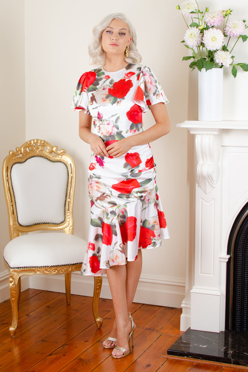 MONICA DRESS - WHITE FLORAL - GEORGY COLLECTION