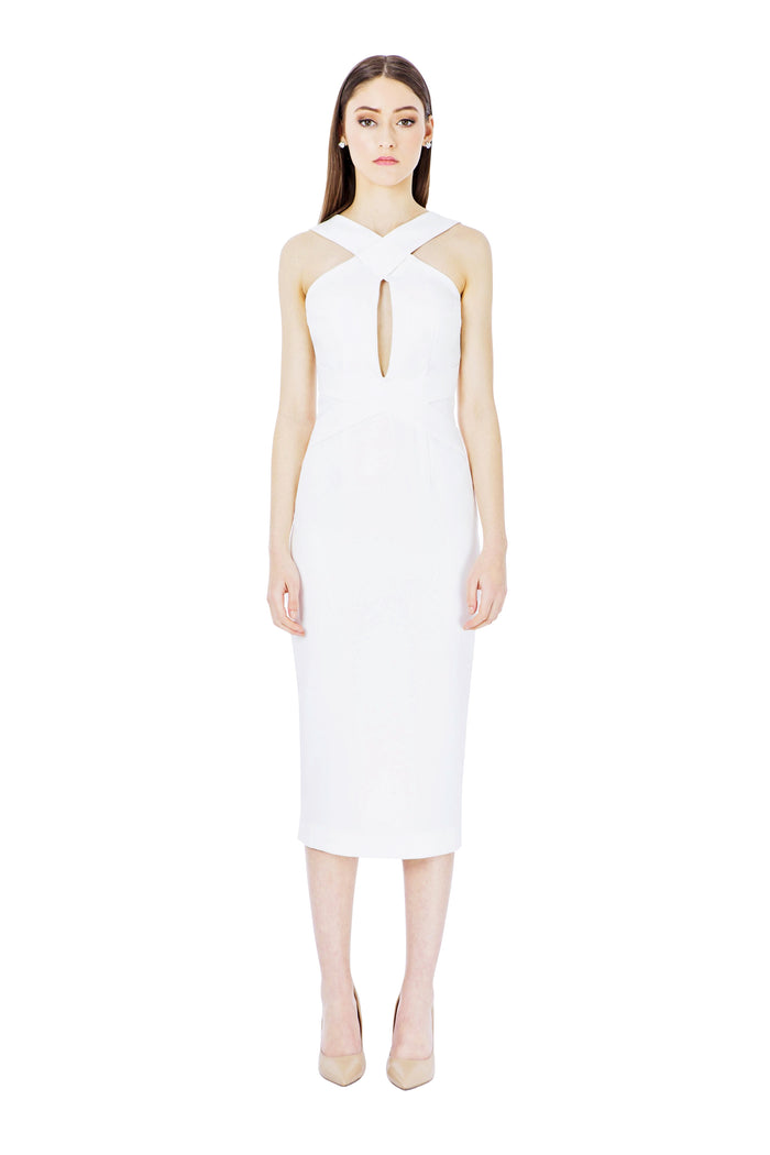 White Cross Over Midi Dress