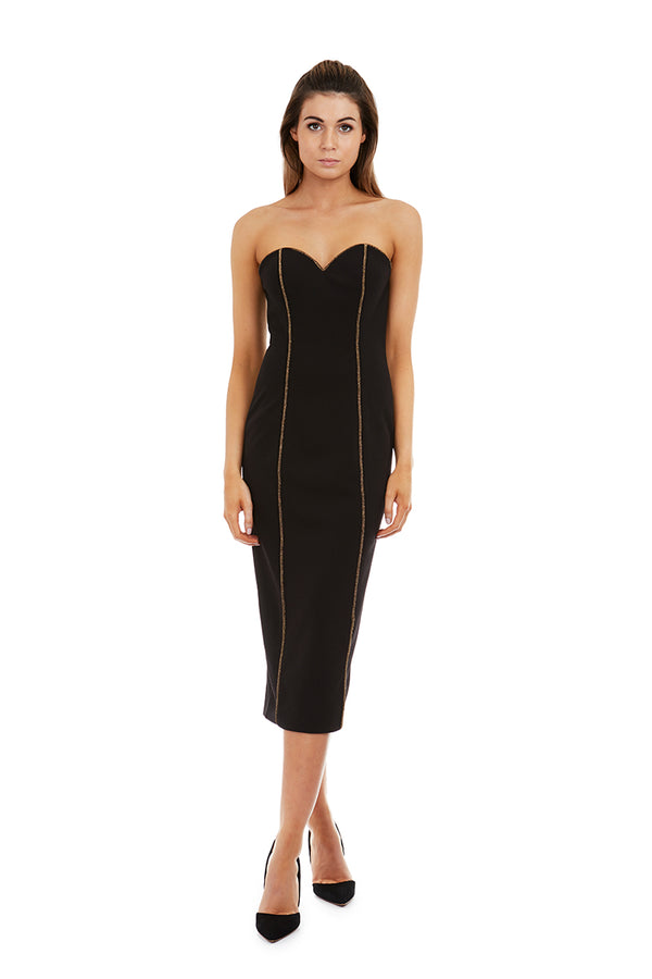 MELANIA DRESS - BLACK & GOLD - GEORGY COLLECTION