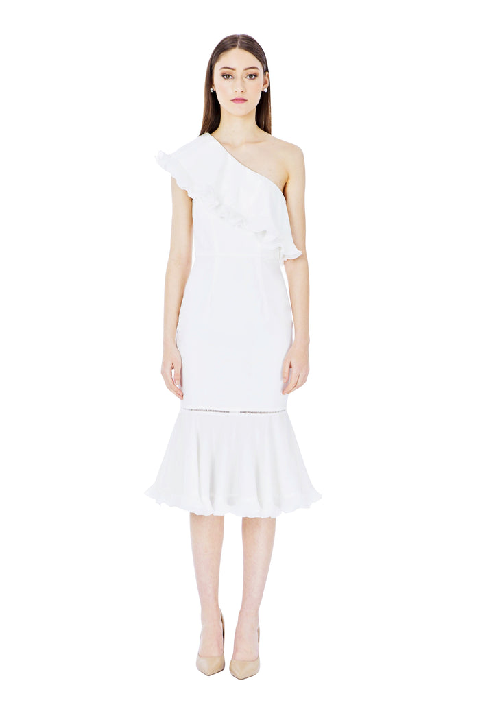 White One Shoulder Frill Midi Dress