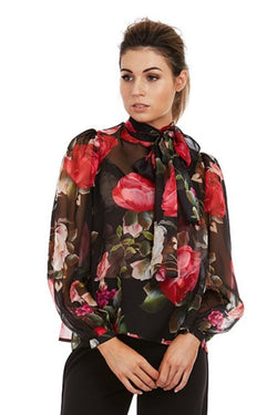 PARIS BLOUSE - BLACK FLORAL - GEORGY COLLECTION