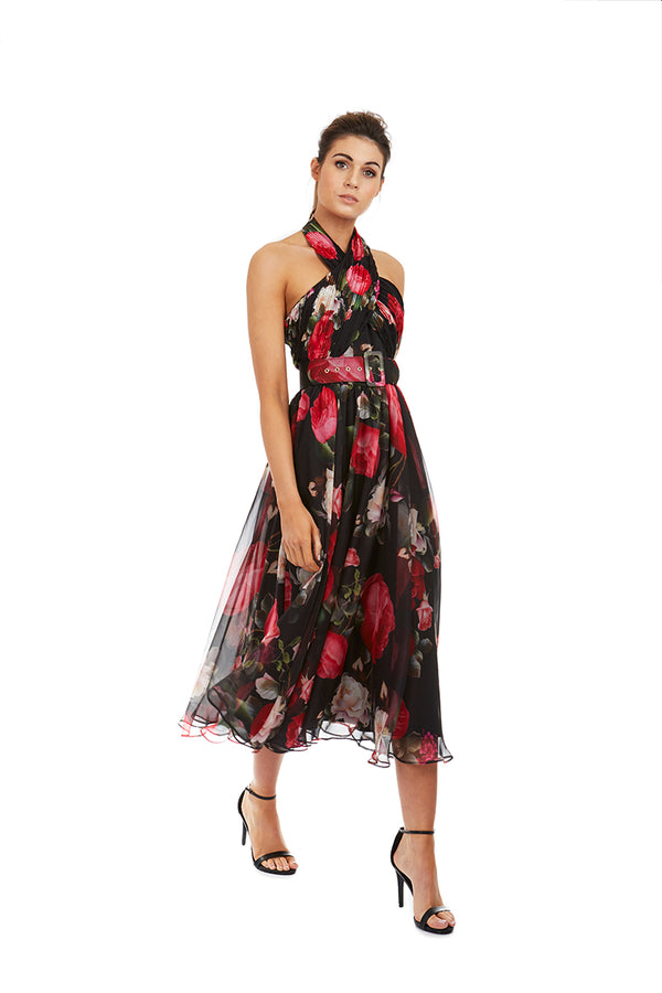 VICTORIA DRESS - BLACK FLORAL - GEORGY COLLECTION