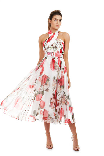 VICTORIA DRESS - WHITE FLORAL - GEORGY COLLECTION