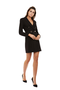 YVONNE BLAZER DRESS - BLACK - GEORGY COLLECTION