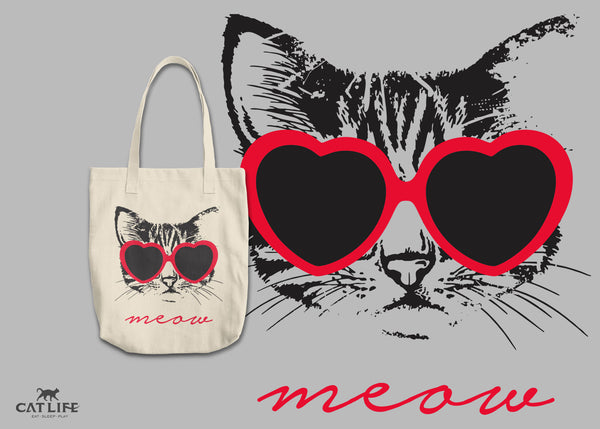 Meow Heart - Round Tote