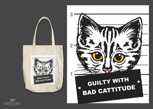 Guilty Cattitude- Round Tote