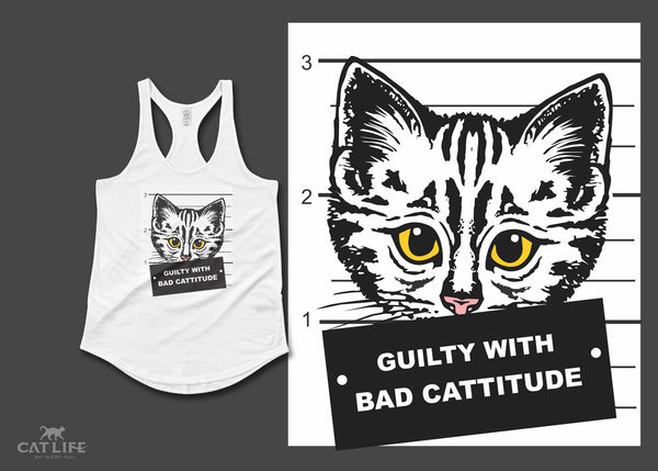 Guilty Cattitude - Womens Shirttail Tank Top