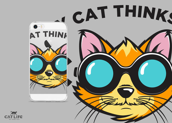 Cat Thinks Cool- iPhone 5/5s/Se, 6/6s, 6/6s Plus Phone Case