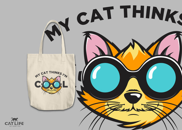 Cat Thinks Cool - Round Tote
