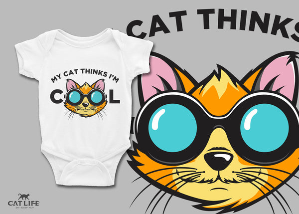 Cat Thinks Cool- Infant Short Sleeve Onesie