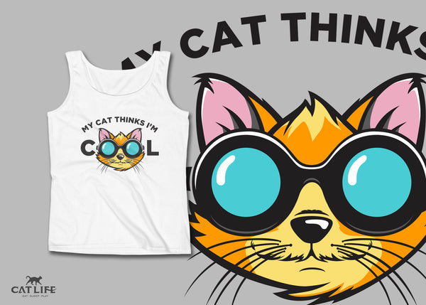 Cat Thinks Cool - Womens Tank Top