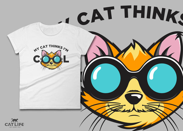 Cat Thinks Cool - Womens Short Sleeve T-Shirt