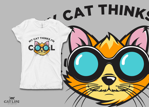 Cat Thinks Cool- Girls Short Sleeve T-Shirt