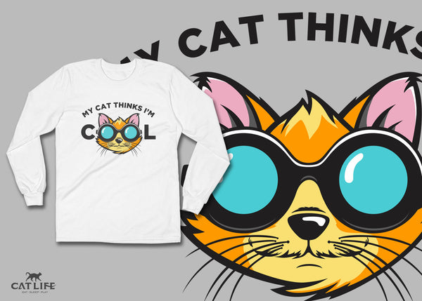 Cat Thinks Cool - Unisex Long Sleeve T-Shirt