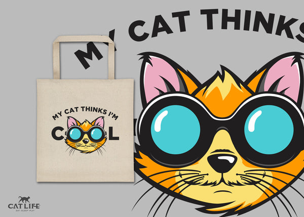 Cat Thinks Cool - Square Tote