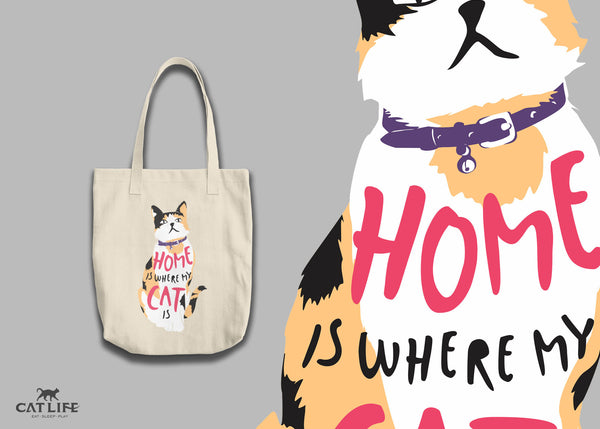Home Is Where My Cat Is (Calico) - Tote Round Bag