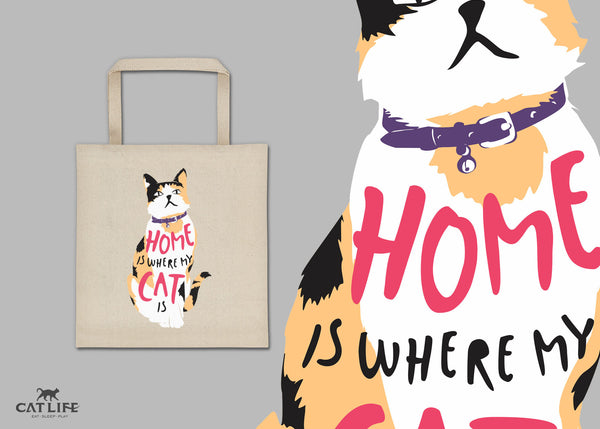 Home Is Where My Cat Is (Calico) - Tote Square Bag