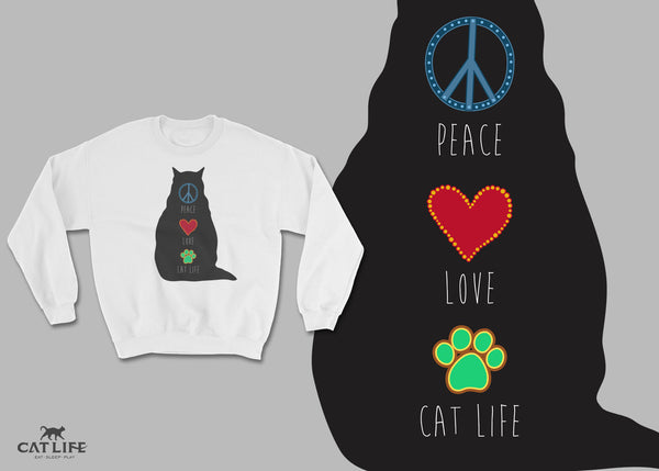 Peace Love CatLife - Unisex Cotton/Polyester Sweatshirt