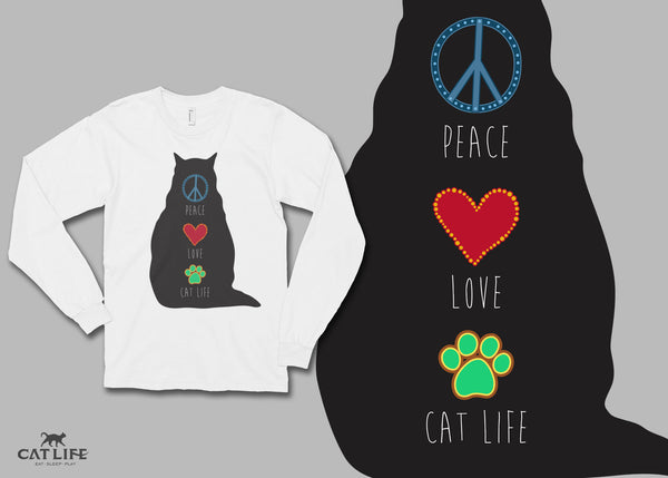 Peace Love CatLife - Unisex Long Sleeve T-Shirt
