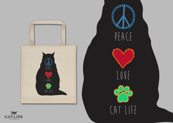 Peace Love CatLife - Tote Square Bag